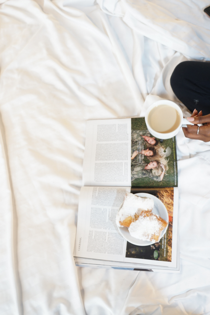 coffee and magazine in bed